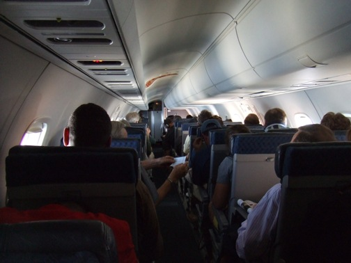 You can see all the ups, downs, and sidewayses very vividly from the back of the plane.  Yikes!