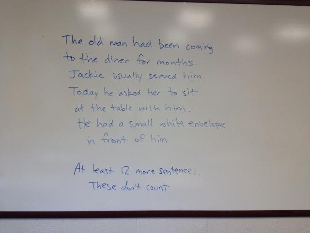 The eighth graders must write at least twelve sentences.