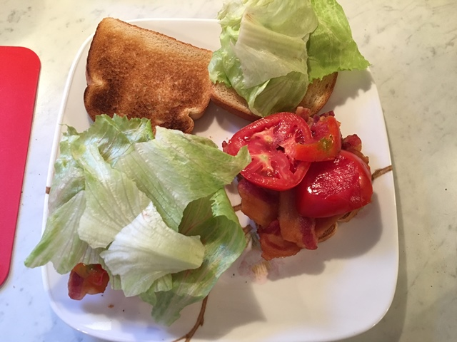 I pulled the lettuce off to show the bacon and tomatoes.