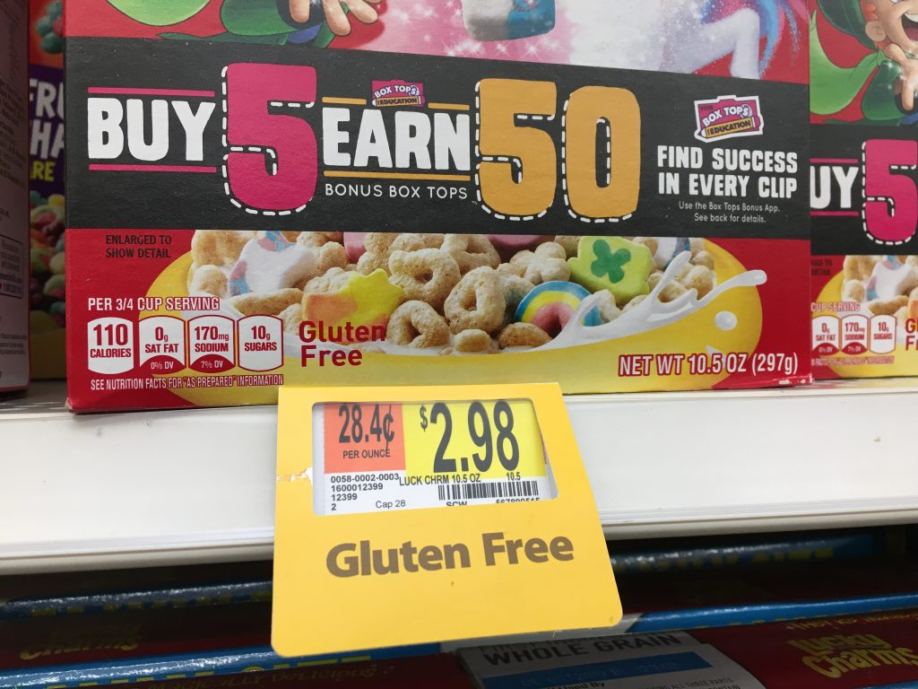 Gluten free!  (Lucky Charms are made of oats)
